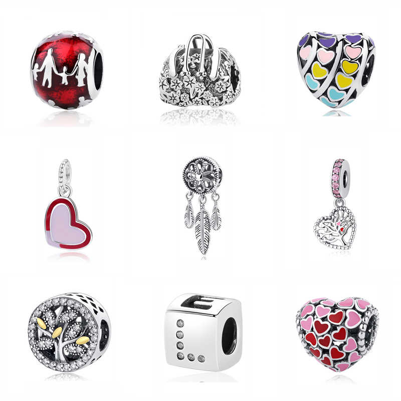7fb6e3ccd Authentic Original 925 Sterling Silver Bead Charm Love Heart Family Tree Mother  Charms Fit Pandora Bracelets