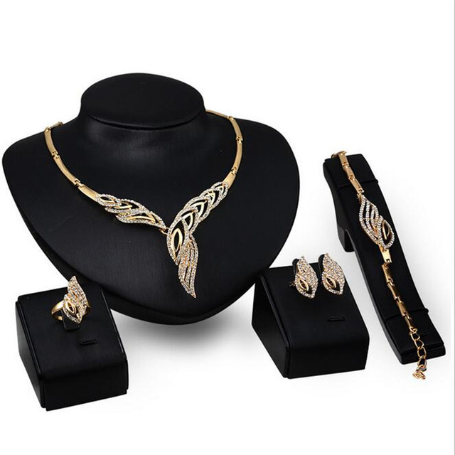 Top Quality Elegant luxury design Rose Gold plated colorful Austrian crystal drop jewelry sets women gift S0300