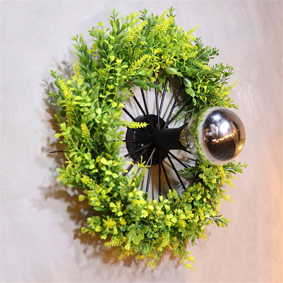 Art déco plantes artificielles anneau vintage applique pour salle à manger bar café loft décor mur LED lumière design créatif escalier lumière - 5