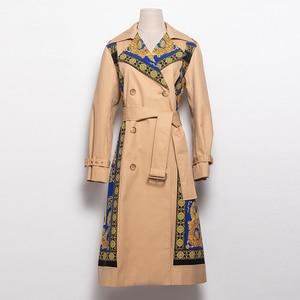 Image 4 - AELESEEN 2018 Womens Fashion Trench New Fall Winter Full Sleeve Turn Collar Luxury Vintage Print Slim Belt Elegant Long Coat