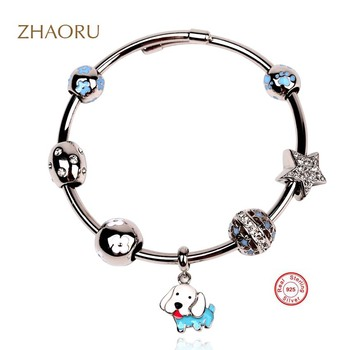 Zhaoru Authentique 925 Sterling Silver Bangle with Crystal Blue Enamel Bead Bracelet for Women Fashion Fine Jewelry DIY Gift