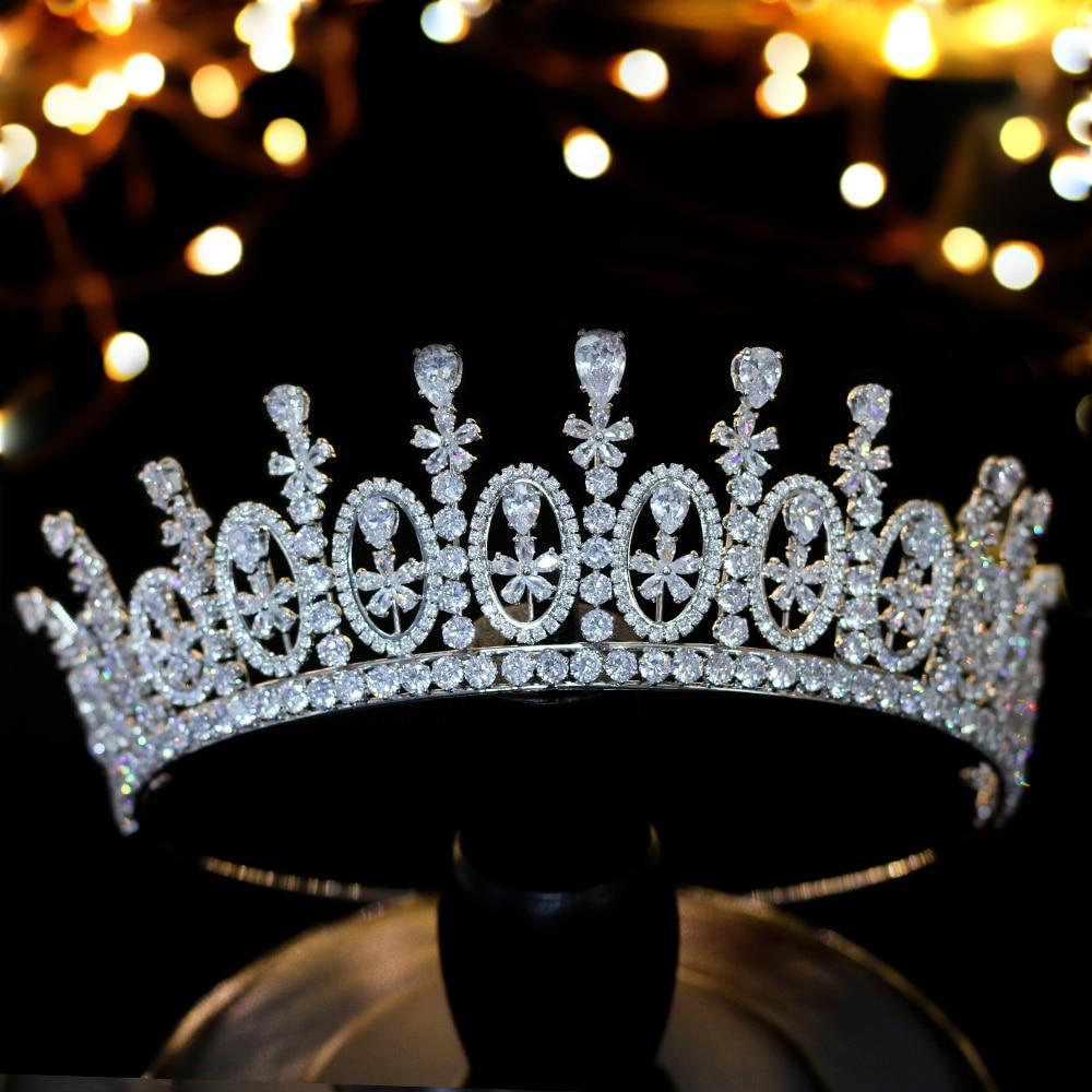 Cena de accesorios para el cabello corona de circonio palacio europeo de alta calidad con caja