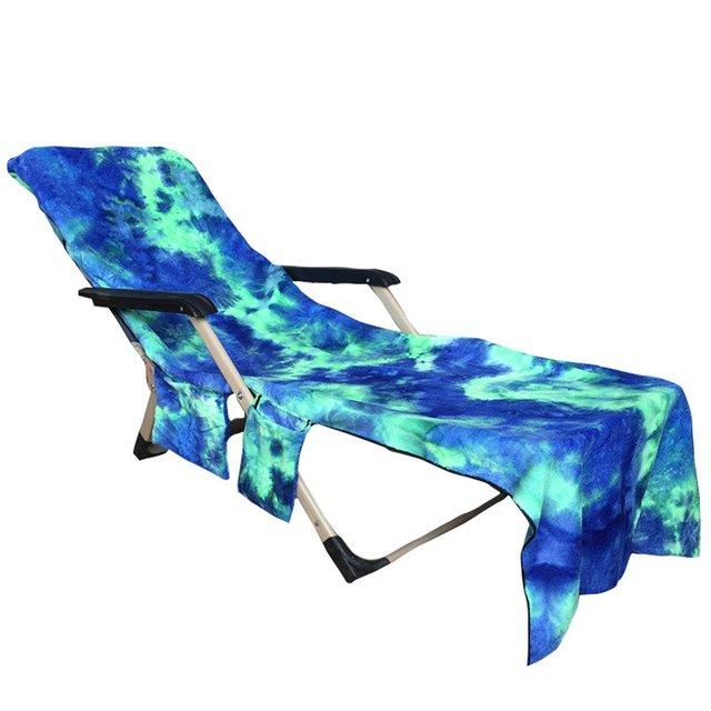 Summer Microfiber Beach Pool Lounge Chair Cover Portable Bath Towel Bag  With 2 Pockets Beach Towel