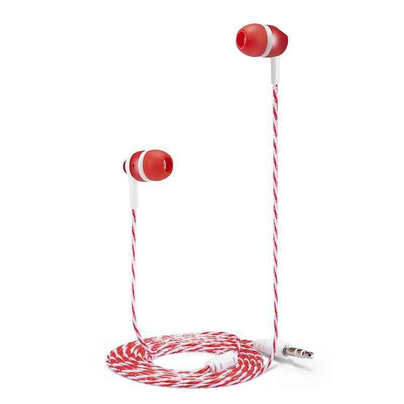 MP3/mp4 rope Stereo Subwoofer słuchawki w zestaw słuchawkowy słuchawki douszne 1.1 M odblaskowe włókno linia tkaniny metalowe słuchawki darmowa wysyłka