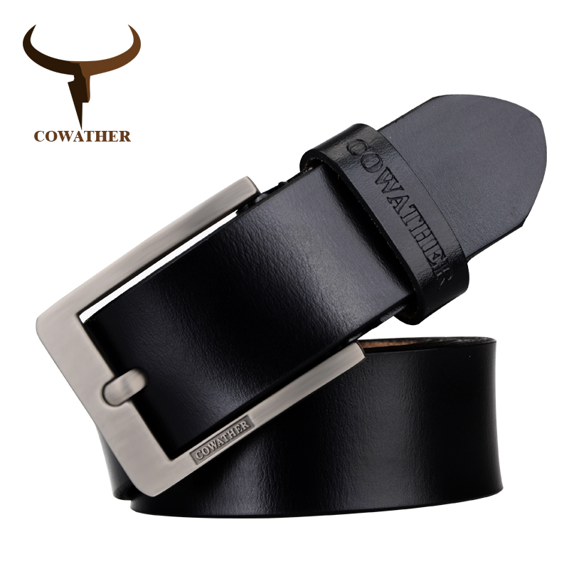 COWATHER Genuine Men Cow Leather Male Strap Pin Buckle Flashion Classic Adjustable Black Brown Coffee Gift Wrap Free Shipping