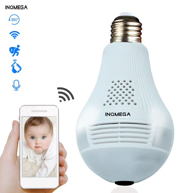 INQMEGA 360 Degree LED Light 960P Wireless Panoramic Home Security Security WiFi CCTV Fisheye Bulb Lamp IP Camera Two Ways Audio