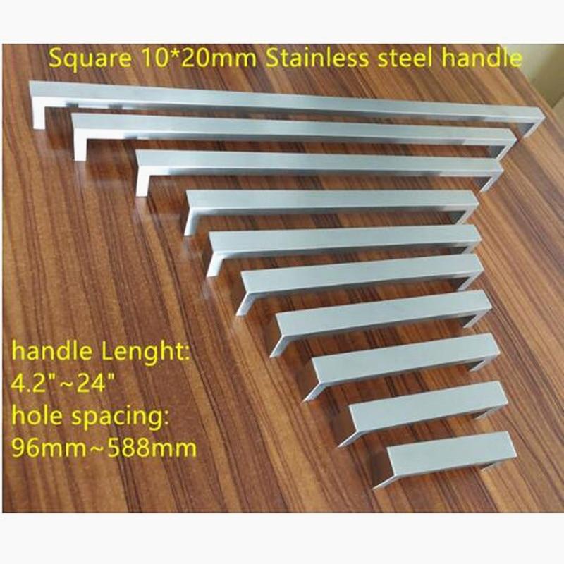 10*20mm Square Bar Door Handle Stainless Steel Kitchen Door Cabinet Handle Pull Knob 4.2