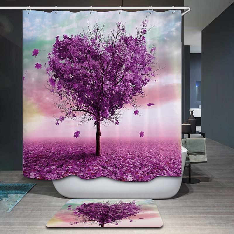Aliexpresscom  Buy decorUhome Polyester Waterproof Purple Heart Tree Scenic Shower Curtain