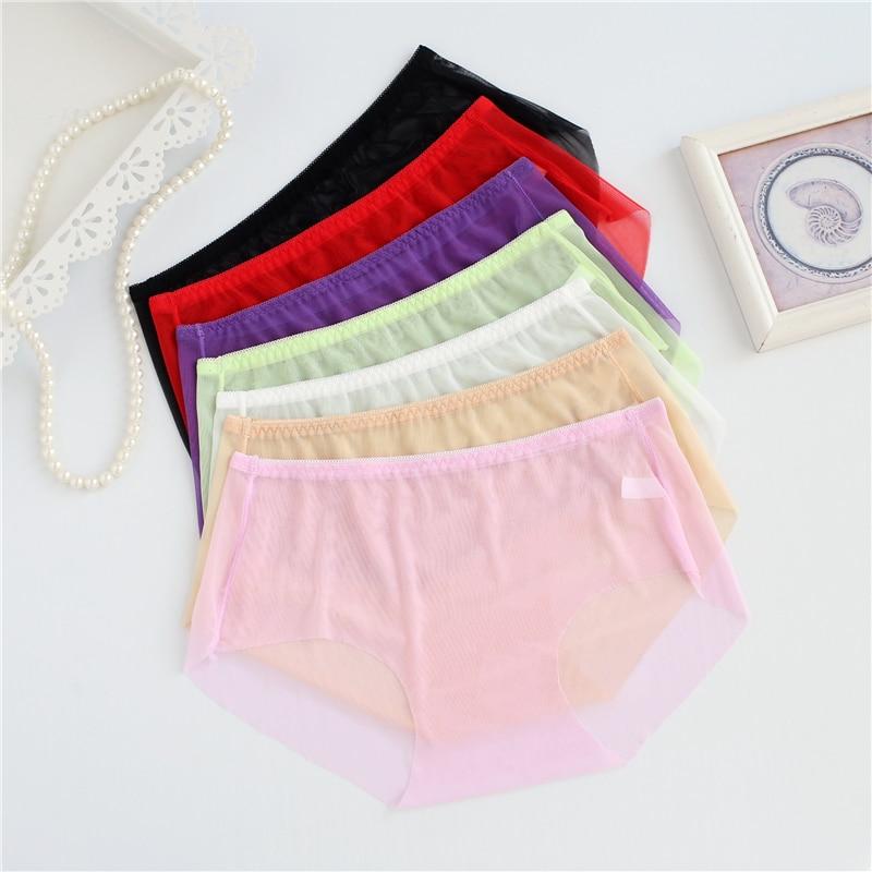 Full Transparent Women Super Sexy Underwear L XL 3XL Plus Size Panties Ladies Briefs Mid Waist