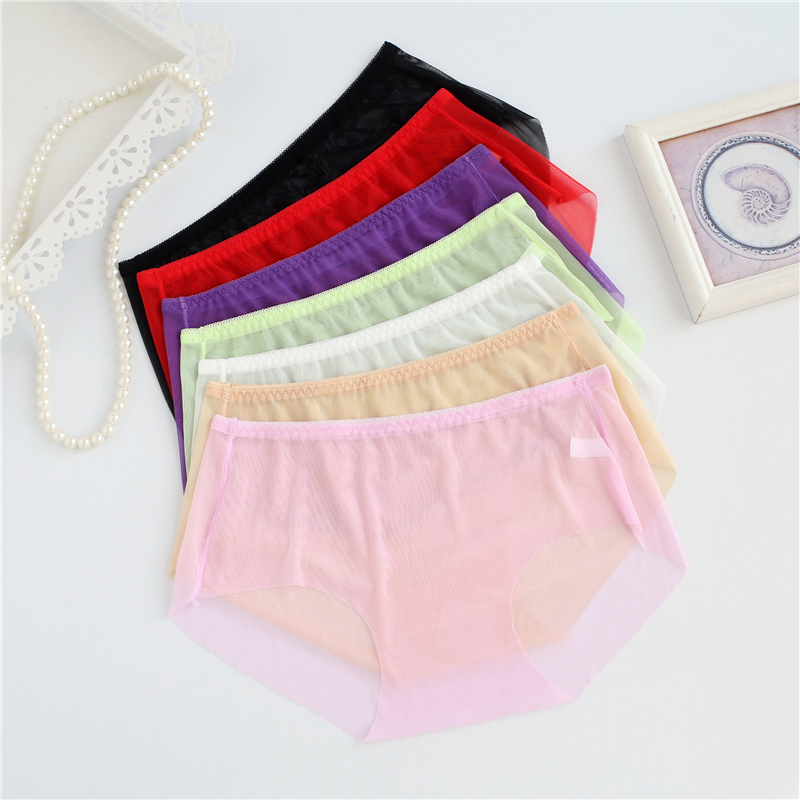 Full Transparent Women Super Sexy Underwear L XL 3XL Plus Size   Panties   Ladies Briefs Mid Waist