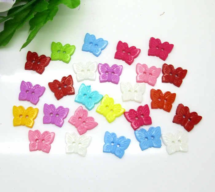 100 sztuk mieszane akrylowe motyl guziki dla dzieci ubrania Scrapbooking dekoracyjne Botones rękodzieła akcesoria do majsterkowania