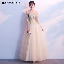 BANVASAC 2018 Illusion O Neck Lace A Line Long Evening Dresses Elegant Party Gold Embroidery Long Sleeve Prom Gowns motorcycle signal lamp rechargeable cycling light 5000 lumen 8 4v bicycle bike led front rear lamp set