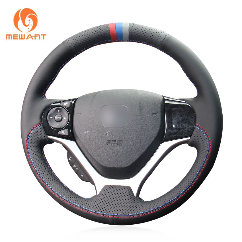 MEWANT Black Genuine Leather Red Blue Gray Marker Car Steering Wheel Cover for Honda Civic Civic 9 2012-2015