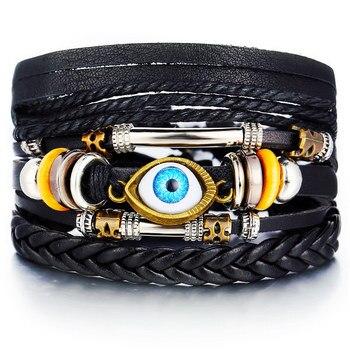 Vintage Multilayer Leather Bracelet for Men Bracelets Jewelry Men Jewelry New Arrivals Metal Color: FDY1815