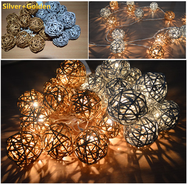 Us 9 Silver And Golden Handmade Rattan Wicker Cane String Lights Fairy Party Patio Decor Night Le Au Eu Plug In Holiday