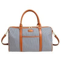 New Style Contrast Color Stripe Pattern Handbag Outdoor Sport Big Capacity Gym Bag Blue