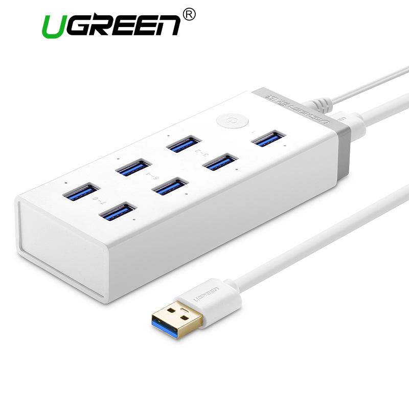 Ugreen USB 3.0 HUB 7 Port Super Speed USB Splitter with 12V 4A Power Charging Adapter for Macbook Computer Hubs Usb 3.0 uh3041p super high speed usb 3 0 4 port hub splitter w ac adapter us plug 100 240v 80cm 100cm