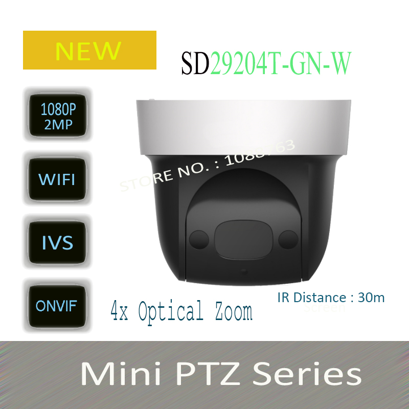 Free Shipping DAHUA Security IP Camera cctv 4X 2MP HD Mini IR PTZ Dome Camera with POE Wifi Camera Without Logo SD29204T-GN-W hkes wholesale 8pcs lot free shipping indoor ir dome ip camera with microphone