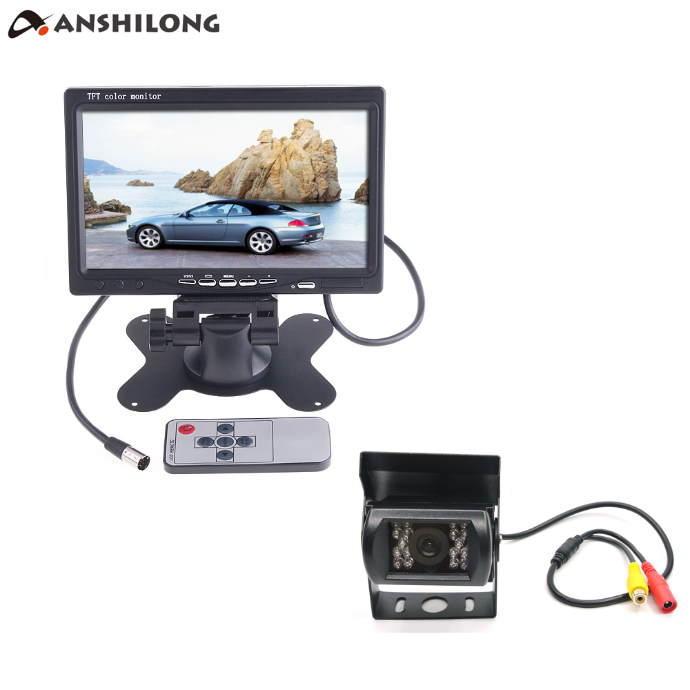 ANSHILONG 7 Car/Bus/ Truck Rear View LCD Standalone Monitor System Kit with 18 IR LED Reversing Back up Camera 12V-24V new 12 24v 7 inch 2 4g digital wireless trailer hd monitor 18 led rear view ir reversing bus truck camera