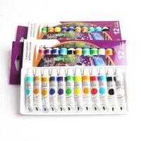 Водостойкий 12 цветов мл/тюбик акриловой краски набор цветов для дизайна ногтей стекло краска ing краска для ткани инструменты для рисования ...
