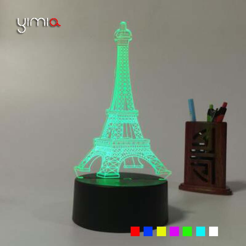 YIMIA 7 changing The Eiffel <font><b>Tower</b></font> 3D Lampe USB Charge Touch Key Acrylic LED Night Light Table Desk Lamp Room Decor lava lamp