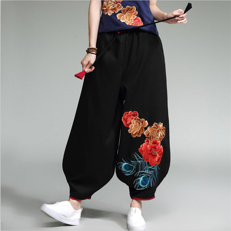 Autumn Spring 2019 Women Vintage Embroidery Full-length Pants Black Elastic Waist Cotton Linen Wide Leg Pants Casual Trousers