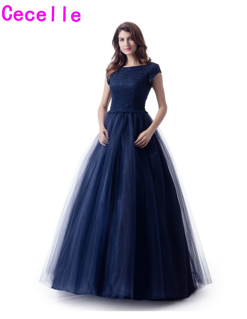 2019 Navy Blue LaceTulle Long Modest   Prom     Dress   With Cap Sleeves A-line Boat Neck Teens Simple Modest   Prom   Party   Dress