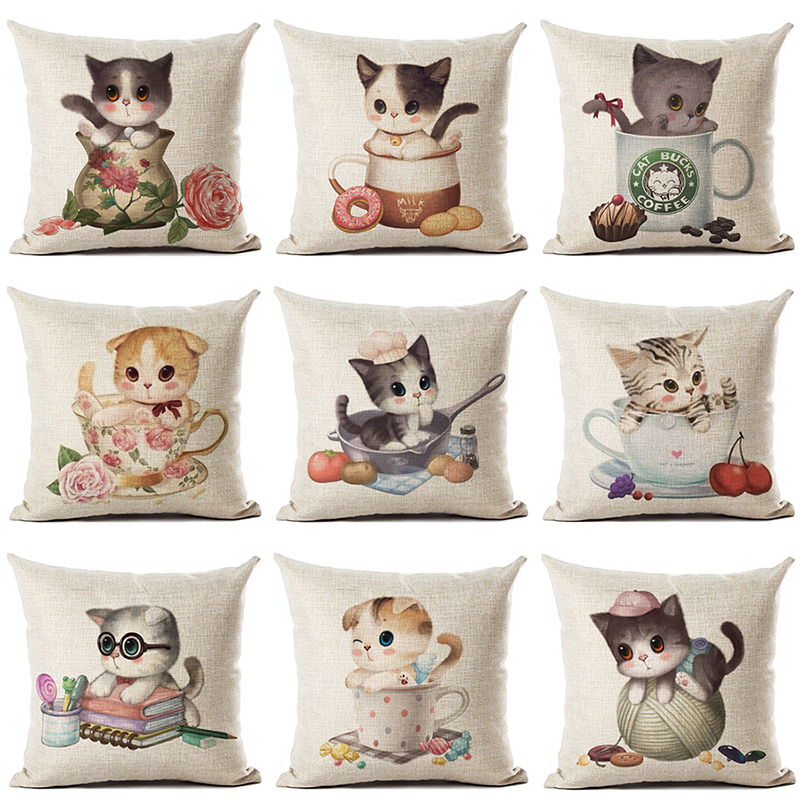 Cute Cup Cat Printed Cotton Linen Pillowcase Decorative Pillows Cushion Use For Home Sofa Car Office Almofadas Cojines