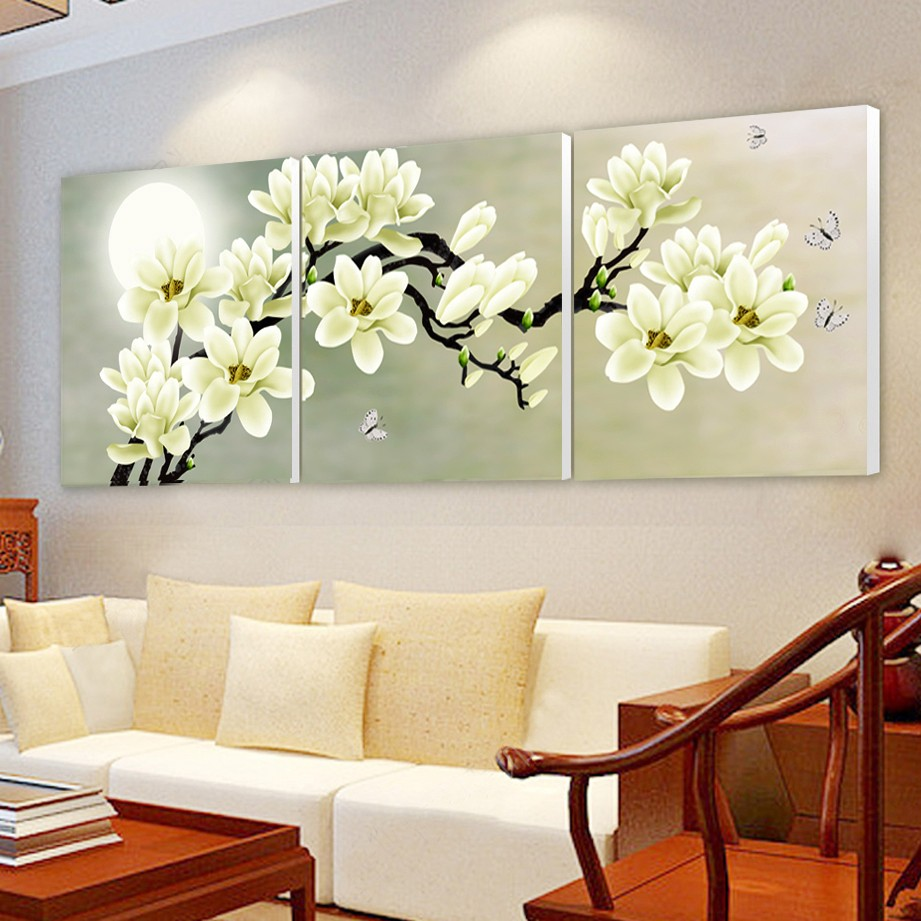 Super 3 Panel Modern 3D white orchid Flower Painting On Canvas Wall Art  OE03