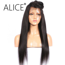 ALICE 20″-26″ Silky Straight Full Lace Human Hair Wigs Brazilian Remy Long Hair Lace Wigs For Black Women Pre Plucked No Tangle