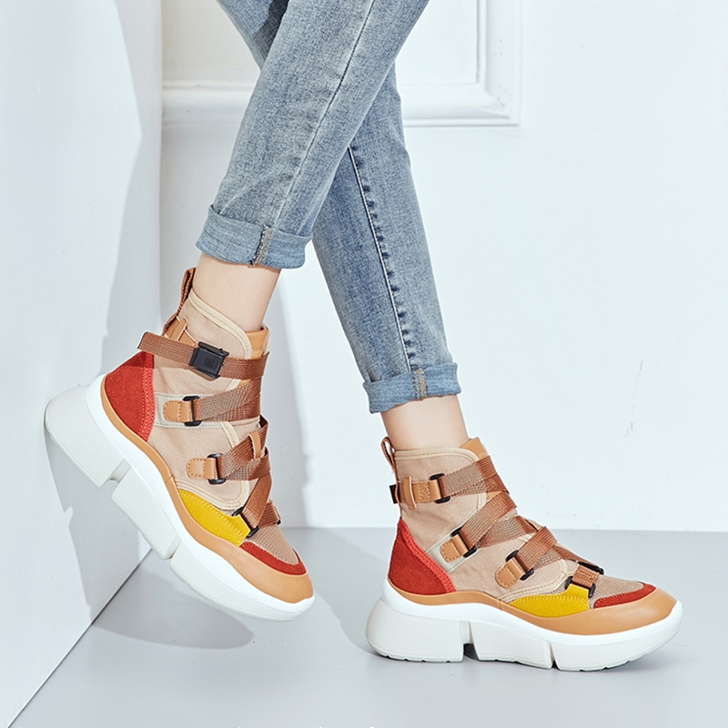 Women Chunky Sneakers Autumn New High-top Canvas Shoes Belt Buckle Ladies Platform Casual Shoes Khaki Botas Mujer 2091w