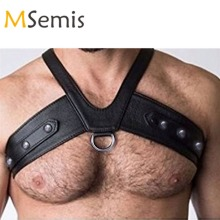 MSemis жгут мужской бондаж белье Искусственная кожа жгут нагрудный ремень для тела костюм с o-кольцами кнопки гей Готический БДСМ бондаж