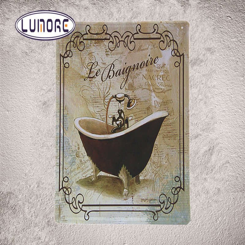 Baignovie Bath Crock Metal Plaque Bar Home Bathroom Wall Decor M19(China)