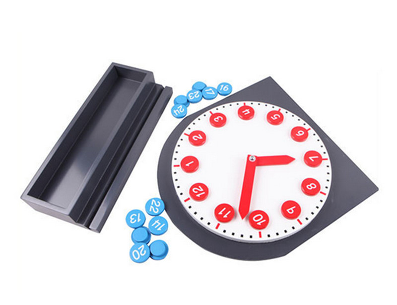 New Wooden Baby Toys Montessori Red And Blue Digital Mobile Clock Baby Educational Toys Baby Gifts