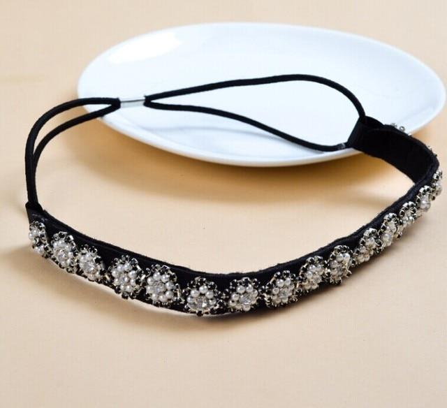 2018 New Wholesale Fashion Handmade Pearl Sewing Gems Chain Beads Elastic Hairbands Headband Hairband Hair Accessories