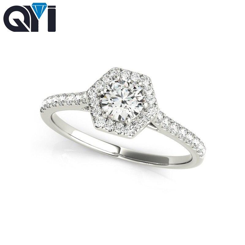 QYI femme bague de mariage Design Unique 925 bague argent mariage anniversaire fiançailles Halo bijoux de mariage