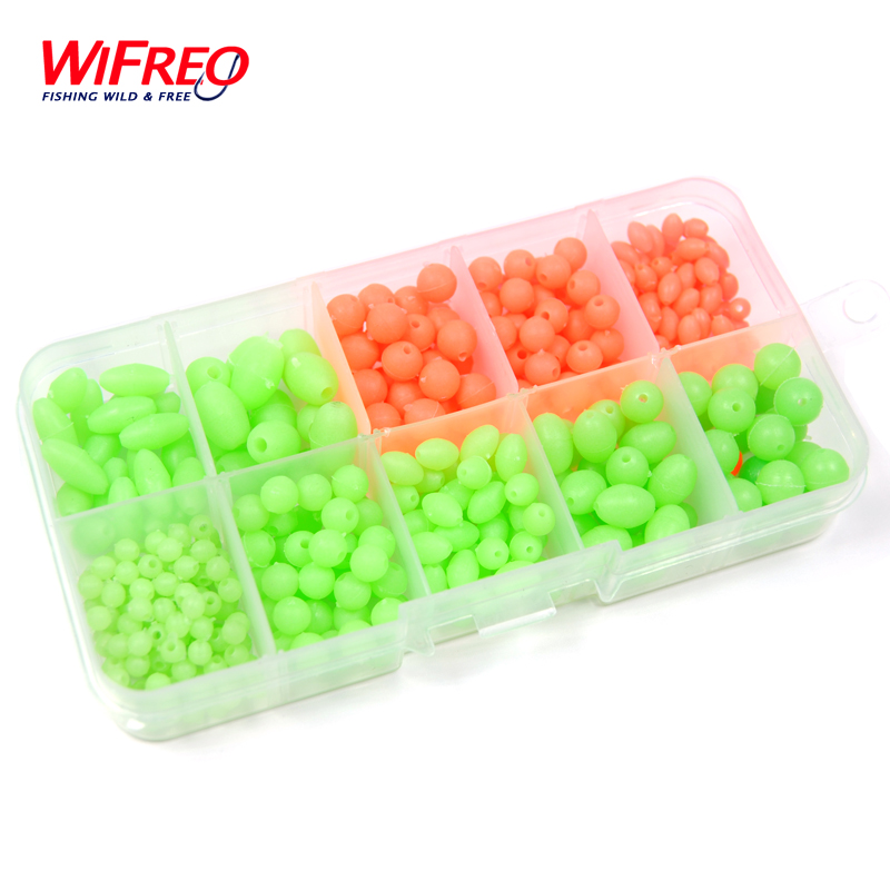 [ 1 Box ] 385pcs/set Combo Darkness Glow Fishing Beads Soft Plastic Luminous Bead Rig Making Fishing Tackle Terminal Accessories ugob77 200pcs lot 4mm 6mm premium orange color oval soft sinking luminous beads elastic fishing glow fluorescent bead top grade