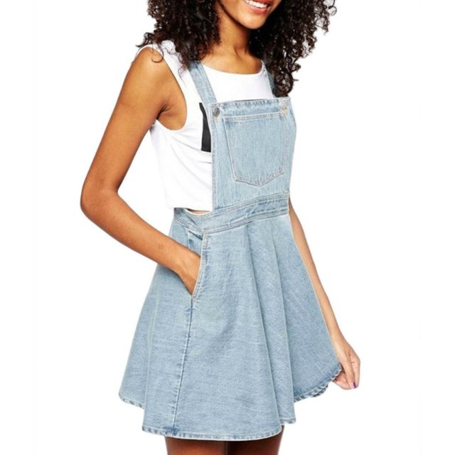 summer  Womens Elegant pocket strap Denim Dress 2017 fashion sleeveless casual Overalls dresses female vestidos femininos LL2