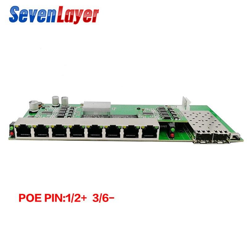 10/100/1000M Reverse POE 8 RJ45 2 SFP Fiber Gigabit Ethernet Switch Fiber Optical Single Mode UTP  Port Board PCBA
