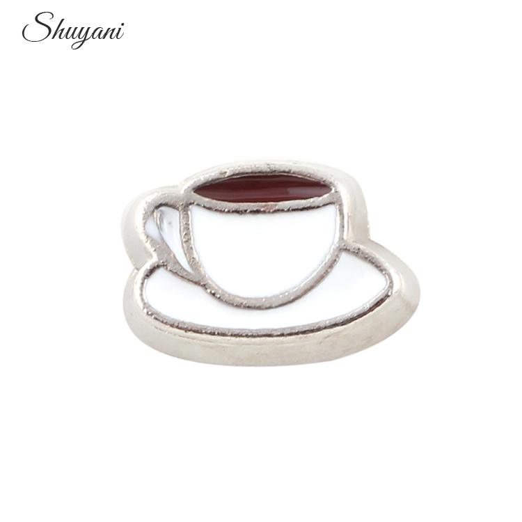 6*8mm 20Pcs/lot Alloy Metal Cute Coffee Cup Floating Locket Charms Fit Memory Living Locket