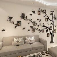 3D акрил, дерево фото наклейки на стену в раме с украшением в виде кристаллов зеркальные наклейки на ТВ фон стены DIY Семья фоторамка Настенный...