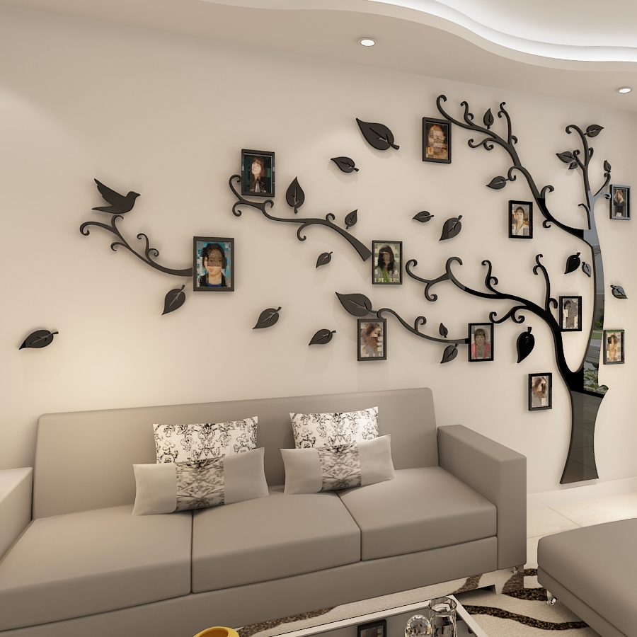 3D אקריליק עץ תמונה מסגרת קיר מדבקות קריסטל מדבקות מראה להדביק על טלוויזיה רקע קיר DIY משפחת מסגרת תמונה קיר דקור