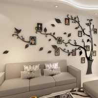 3D Acryl Baum Foto Rahmen Wand Aufkleber Kristall Spiegel Aufkleber Paste Auf TV Hintergrund Wand DIY Familie Foto Rahmen Wand decor