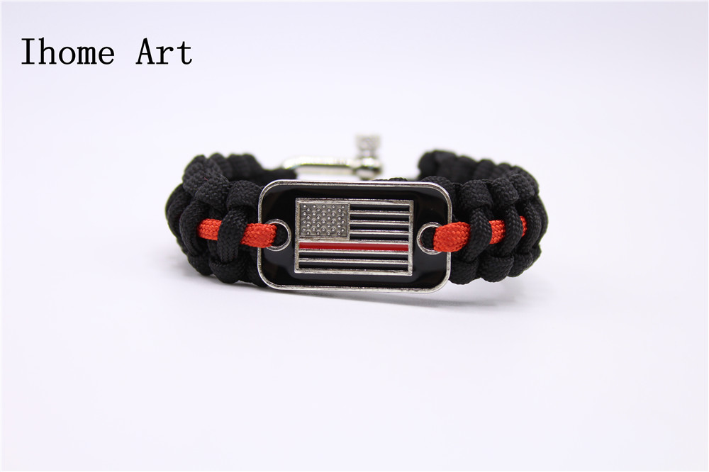 Home & Garden Thin Blue Line Usa Flag Police Paracord Bracelet Support Lives Thin Red Line Us America Flag Paracord Survival Armband Bangle Buckles & Hooks