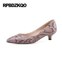10 42 33 Pointed Toe Kitten Lilac Pumps Low Plus Size Shoes Snakeskin Snake High Heels