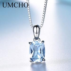 Image 1 - UMCHO collar con colgante de plata 925 sólida para mujer, GEMA, Topacio azul cielo, regalos de boda románticos, joyería fina