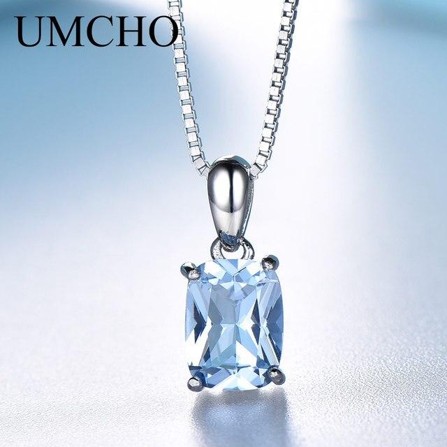 UMCHO maciza 925 plata esterlina colgante, collar de piedras preciosas de Topacio azul cielo collar romántico regalos de boda para las mujeres, joyería fina