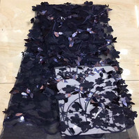 Sequins Lace Fabric High Quality Latest 3D Appliques African Lace Fabrics Wedding Tulle Lace Fabrics French Nigerian dp65 2291