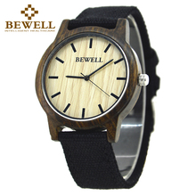 BEWELL New Analog Casual Canvas Strap Wooden Wrist Watches for Men and Women Japanese miytor 2035 Quartz Watch Male Relogio 134A