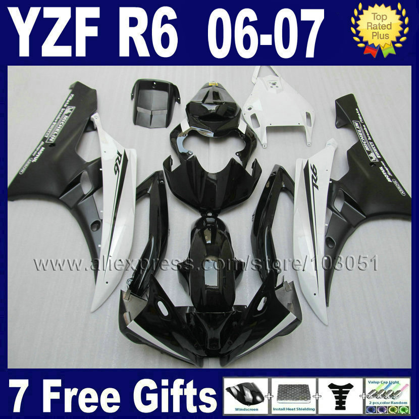 Custom Injection motorcycle fairings kit For YAMAHA YZF R6 06 07  YZFR6 2006 2007 plastic white black body repair fairing parts